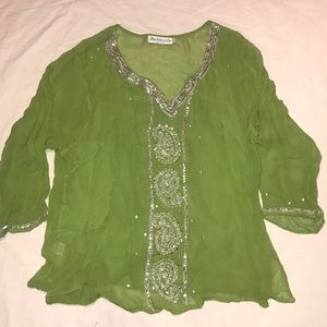 Beaded embroidered lime georgette tunic